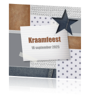 Kraamfeest uitnodiging in hippe denim look