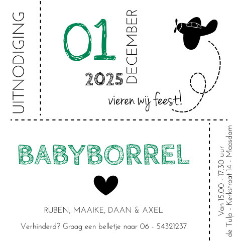 Babyborrelkaart in hip design