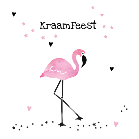 Kraamborrel kaartje met watercolour flamingo