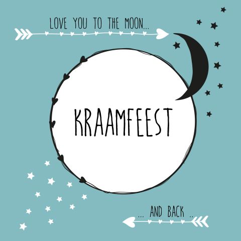 Love you to the moon kraamfeest kaartje jongen