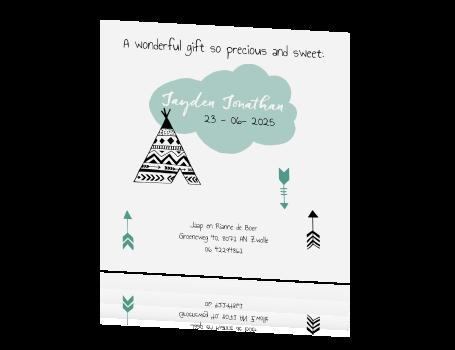 Stoer babykaartje voor een jongetje met tipi tentjes