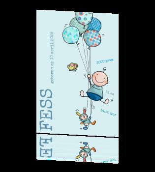 Lief geboortekaartje met getekende jongen en ballonnen - Turquoise ruimte van de jongen ...