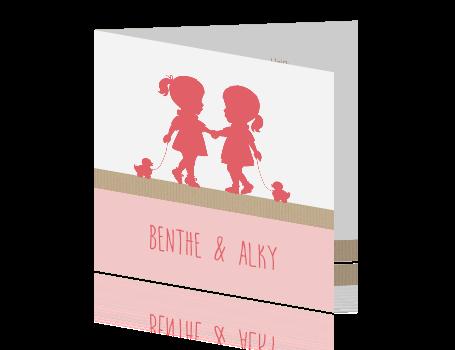 39a938895f1c4d Silhouet geboortekaartje voor tweeling meisjes en kraft
